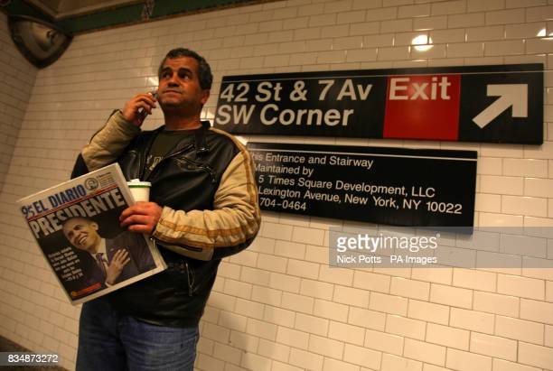 The Spanish speaking El Diario newspaper read on New York's subway 42 Street Station with new President Barack Obama on its cover