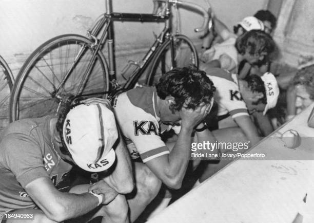 The Spanish team crying as they arrive in Catania Sicily during the Tour of Italy and hear news of the death of fellowcyclist Juan Manuel Santisteban...