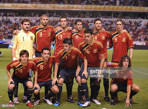 The Spanish team lines up before the Group 5 FIFA2010 World Cup Qualifier match between Spain and Belgium at the Riazor stadium on September 5 2009...
