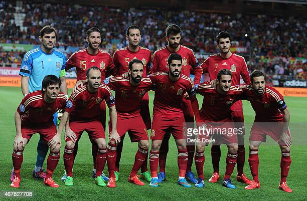 The Spanish team lineup before the start of the Spain v Ukraine EURO 2016 Qualifier at Estadio Ramon Sanchez Pizjuan on March 27 2015 in Seville Spain