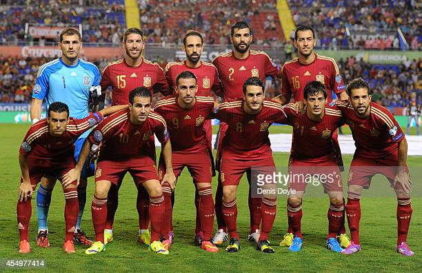 The Spanish team lineup prior to the start of the UEFA EURO 2016 Group C Qualifier between Spain and FYR of Macedonia at Estadio Ciutat de Valencia...