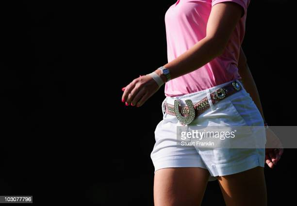The sparkeling lucky horseshoe belt of Paula Creamer of USA during the final round of the 2010 Evian Masters on July 25 2010 in Evian France