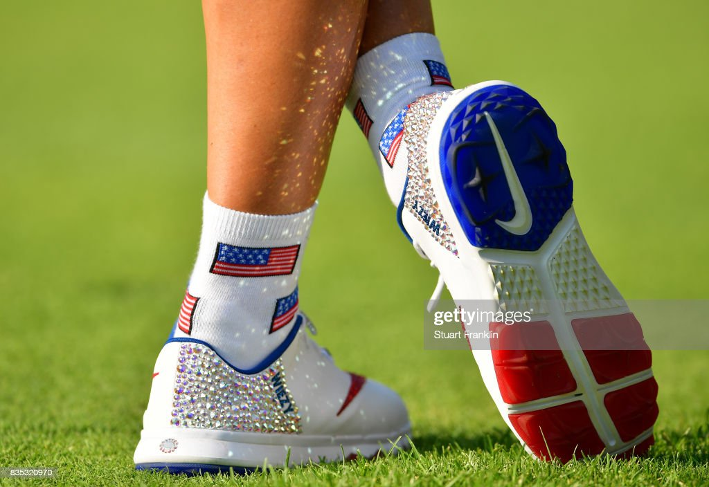 The sparkling shoes of Michelle Wie of Team USA are seen during the afternoon fourball matches of The Solheim Cup at Des Moines Golf and Country Club on August 18, 2017 in West Des Moines, Iowa.