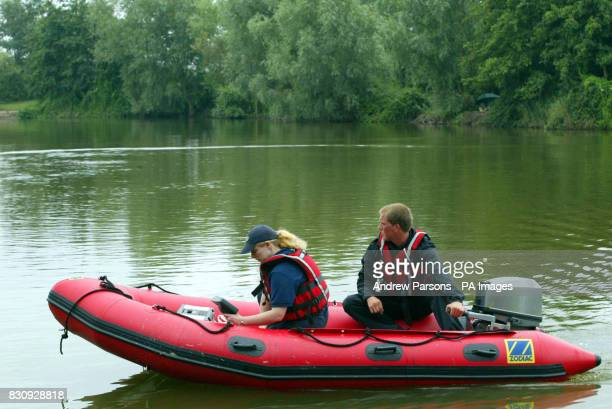 The Spartan Rescue team from Northampton use specialist equipment to search a lake near the homes of Jessica Chapman and Holly Wells both 10 who went...