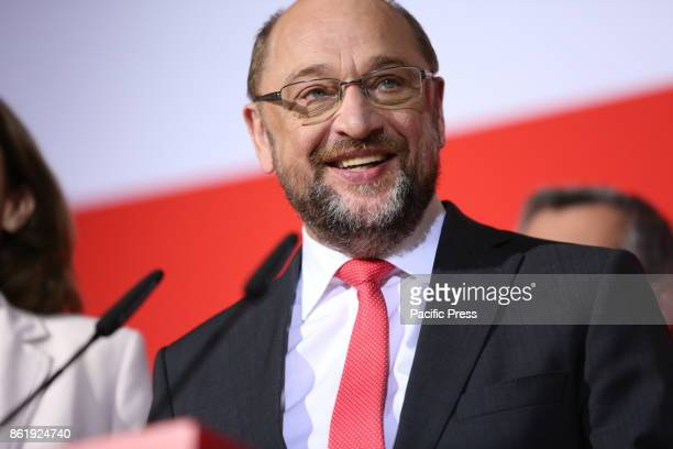 The SPD wins the regional elections in Lower Saxony The party chairman Martin Schulz gives statements on the Wahlausgang in Lower Saxony in...