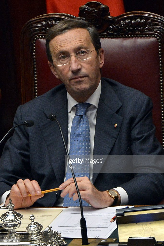 The speaker of the parliament, Gianfranco Fini, takes place for a session on a key budget vote on December 21, 2012 in Rome. The Italian parliament prepared Friday for a key budget vote which will trigger the resignation of Prime Minister Mario Monti, who is expected to reveal this weekend whether he will run in the upcoming election.