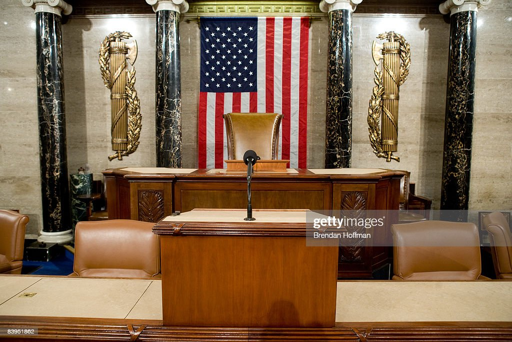 The Speaker's rostrum in the US House of Representatives chamber is seen December 8 2008 in Washington DC Members of the media were allowed access to...