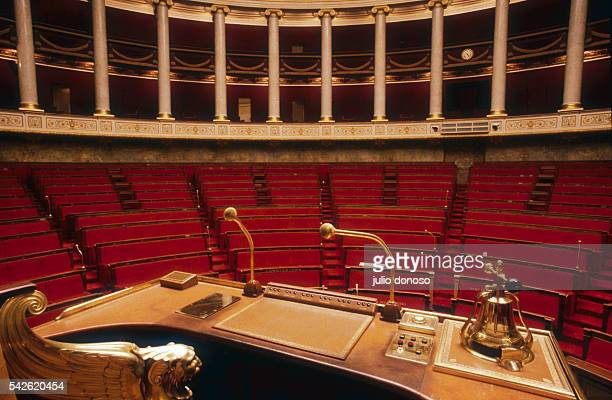 The speaker's stand in the French National Assembly amphitheater at the Palais Bourbon