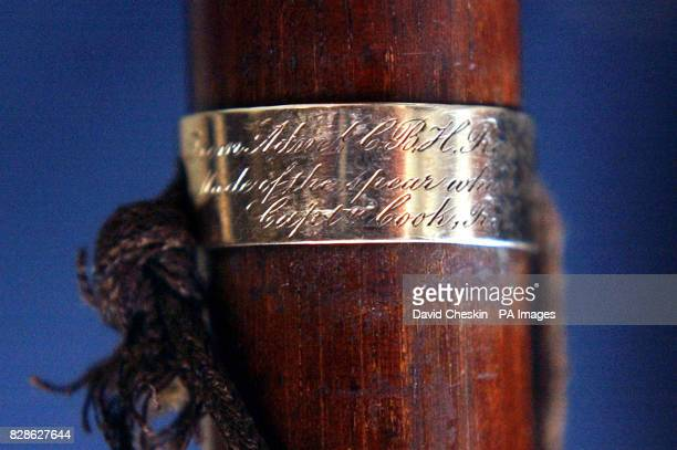 The spear that killed Captain James Cook on 14th February 1779 at Lyon and Turnbull in Edinburgh which has been transformed into a walking stick and...