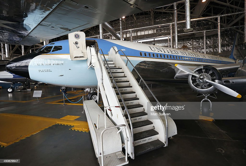 The Special Air Mission 26000 US President John F Kennedy's Air Force One sits on display at the National Museum of the United States Air Force in...