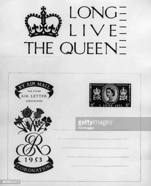 The special postmark and Air Letter form which were introduced by the Post Office to commemorate the Coronation of Queen Elizabeth II