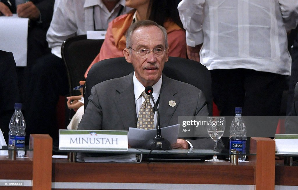 The Special Representative of the Secretary-General and head of mission of MINUSTAH, Guatemalan Edmond Mulet, speaks during the opening session of the 'World Summit for the Future of Haiti' in Punta Cana, Dominican republic, on June 2, 2010. Top officials from Europe and the Americas shall meet on June 2 with the goal of firming up international plans for the massive rebuilding effort and offers of financial support promised to Haiti. AFP PHOTO / Erika Santelices