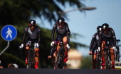 The Specialized lululemon team of the USA in action on their way to winning the Elite Women's Team Time Trial on day one of the UCI Road World...