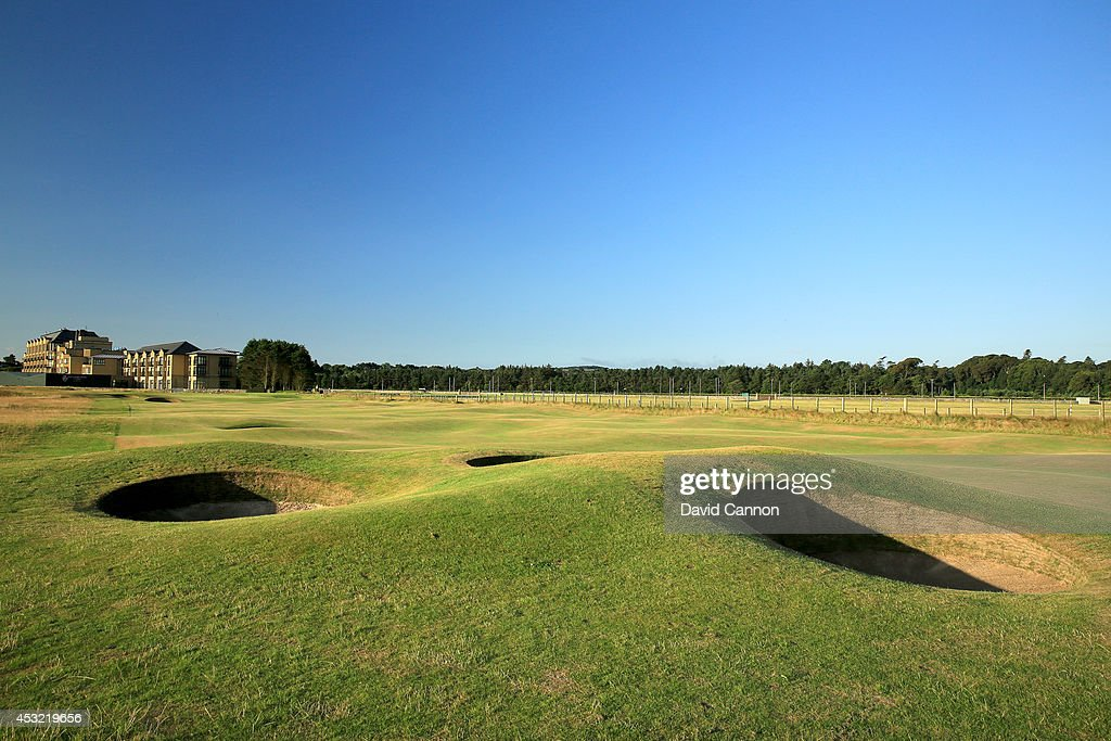 The 'Spectacles Bunkers' on the par 4 16th hole on the Old Course at St Andrews venue for The Open Championship in 2015 on July 29 2014 in St Andrews...