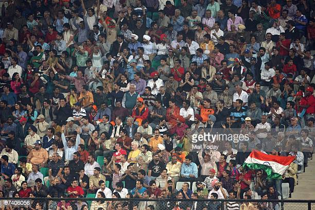 The Spectators cheer on the teams at the pool B match of India against Pakistan at the Hockey World Cup in New Delhi on February 28 2010