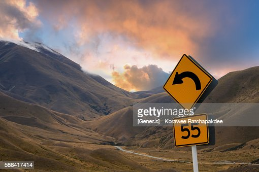 The speed limit at the Lindis Pass in the sunset time