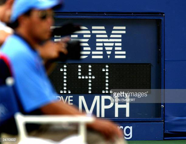 The speed of 141 miles per hour is shown on the clock after Andy Roddick's serve to Juan Carlos Ferrero of Spain 07 September 2003 at the finals of...