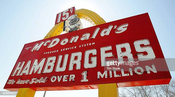 The 'Speedee' McDonald's sign is seen at the McDonald's USA First Store Museum April 14 2005 in Des Plaines Illinois The McDonald's museum is a...