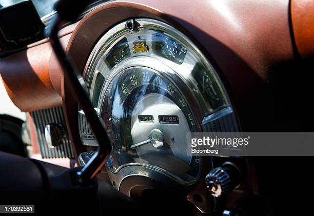 The speedometer of a 1952 Chrysler Group LLC Town Country Wagon with the front end of a DeSoto grafted on is displayed near Malibu California US on...