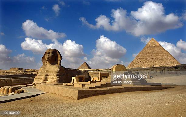 The Sphinx and the Great Pyramids of Giza on October 6 2009 in Cairo Egypt