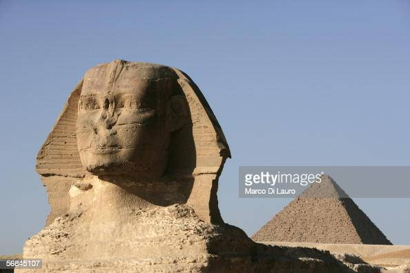 CAIRO EGYPT FEBRUARY 9 The Sphinx is seen in front of the Pyramid of Chephren on February 9 2006 in Giza Cairo Egypt The Sphinx is carved almost...