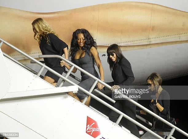 The Spice Girls arrive to name a Virgin Atlantic Boeing 747 plane 'Spice One' in their honor at Los Angeles International Airport 12 December 2007...