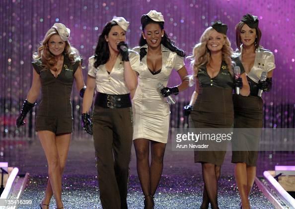 The Spice Girls Geri Halliwell Melanie Chisholm Melanie Brown Emma Bunton and Victoria Beckham perform at the 12th Victoria's Secret Fashion show at...