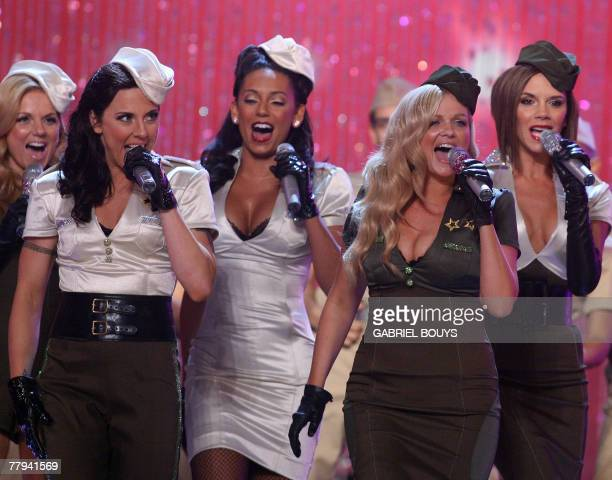 The Spice Girls perform during the Victoria's Secret fashion show at the Kodak Theatre in Hollywood California 15 November 2007 From left are Emma...