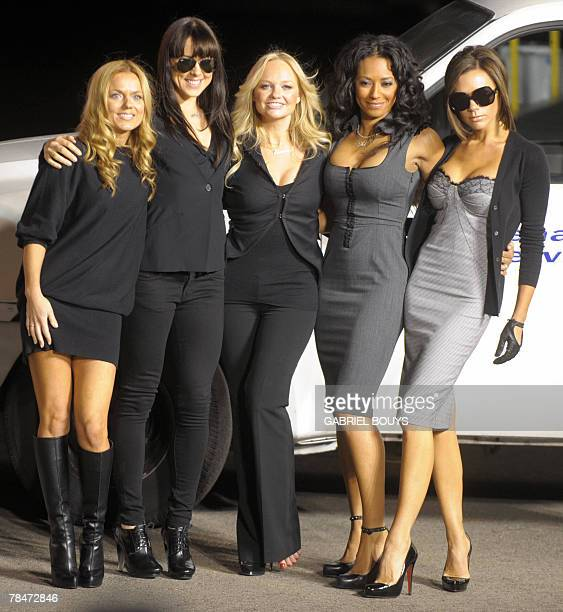 The Spice Girls pose after naming a Virgin Atlantic Boeing 747 plane 'Spice One' in their honor at Los Angeles International Airport 12 December 2007...