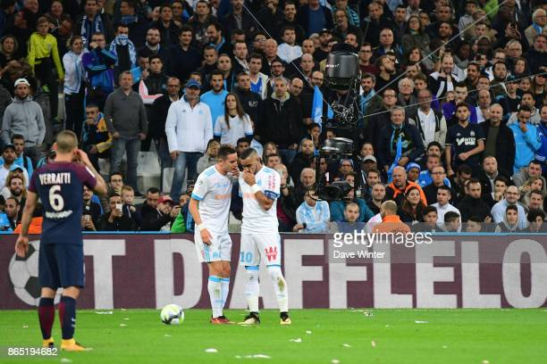 The Spidercam drops down almost to pitch level as Florian Thauvin of Marseille and Dimitri Payet of Marseille discuss tactics during the Ligue 1...