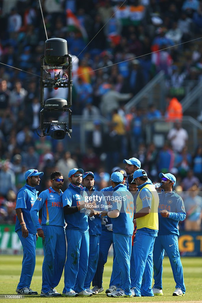 The spidercam focusses on the players of India during the Group B ICC Champions Trophy match between India and South Africa at the SWALEC Stadium on...