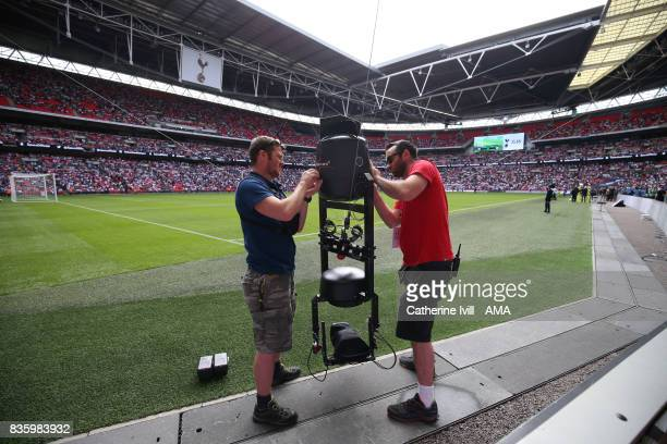 The Spidercam television camera is prepared before the Premier League match between Tottenham Hotspur and Chelsea at Wembley Stadium on August 20...