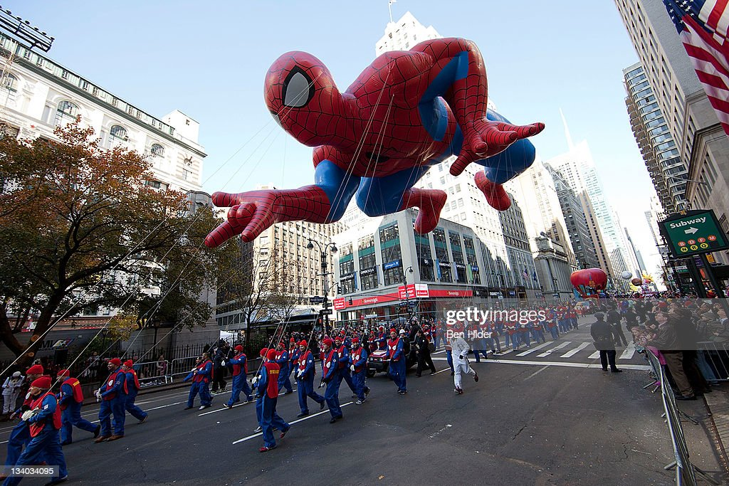The Spiderman balloon floats in Macy's Legendary Thanksgiving Day Parade on November 24, 2011 in New York City.