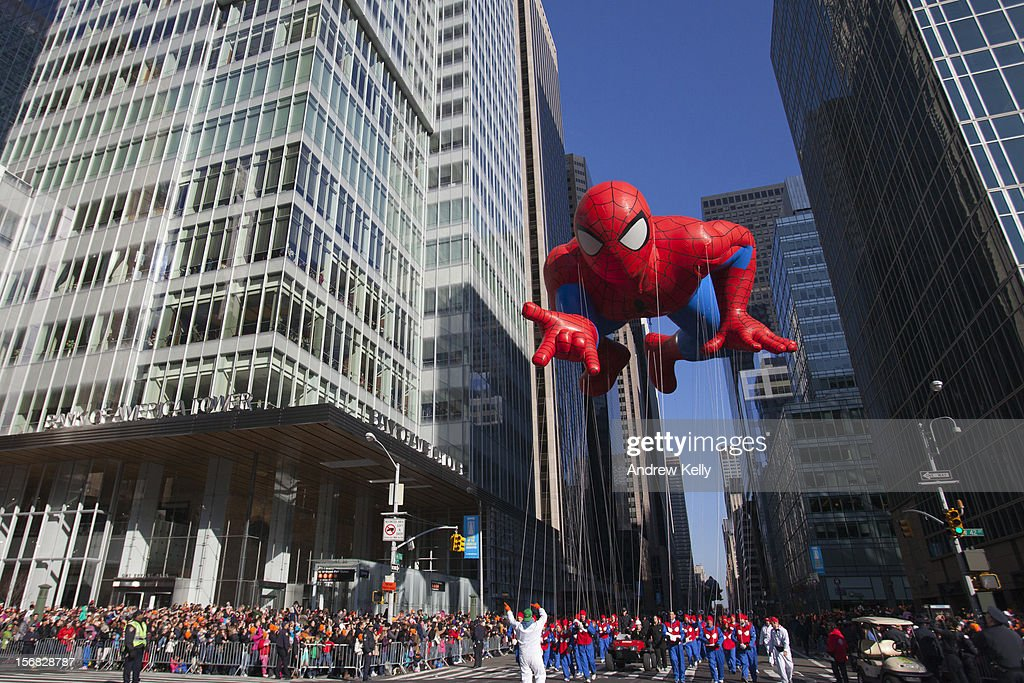 The Spiderman balloon makes its way down Sixth Avenue during the 86th Annual Macy's Thanksgiving Day Parade on November 22, 2012 in New York City. Macy's donated tickets and transportation to this year's Thanksgiving Day Parade to 5,000 people from neighborhoods hardest hit by Superstorm Sandy.
