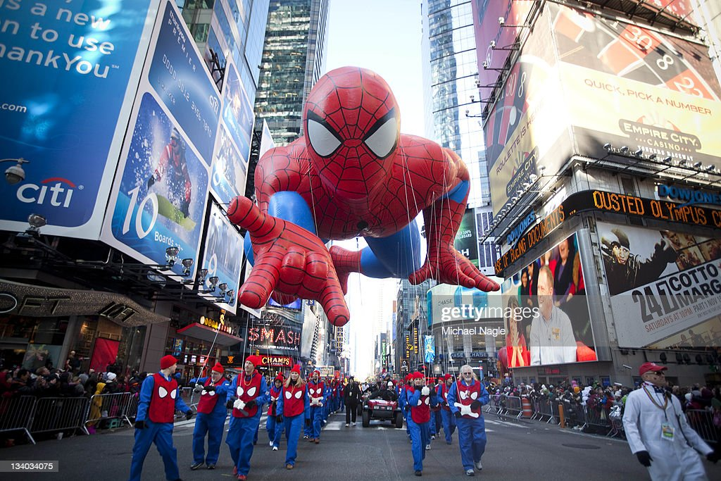 The Spiderman balloon makes its way through Times Square in Macy's Thanksgiving Day parade on November 24, 2011 in New York City. The 85th annual event is the second oldest Thanksgiving Day parade in the U.S.