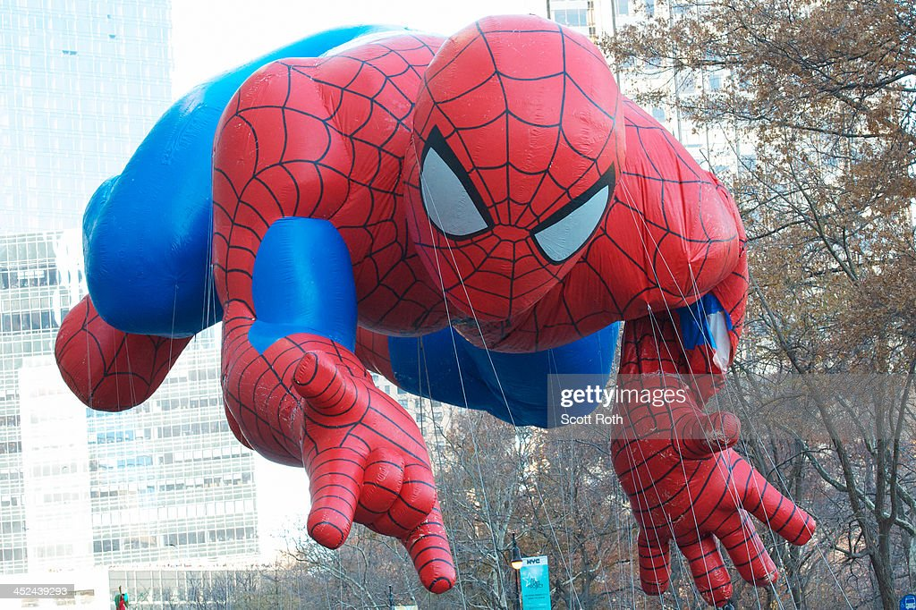 The Spiderman float moves through the 87th annual Macy's Thanksgiving Day parade on November 28, 2013 in New York City.