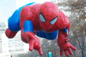 The Spiderman float moves through the 87th annual Macy's Thanksgiving Day parade on November 28 2013 in New York City