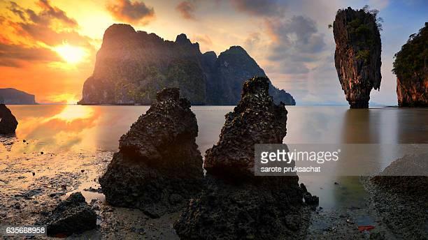 T้he Spike Island In SEA , Koh Ta Pu  Phang Nga Province Thailand.