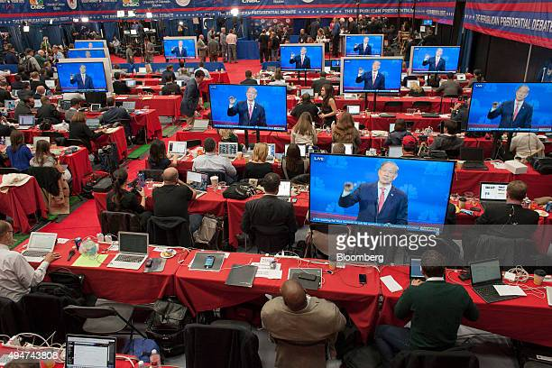 The spin room is seen during the first Republican presidential debate at the University of Colorado in Boulder Colorado US on Wednesday Oct 28 2015...