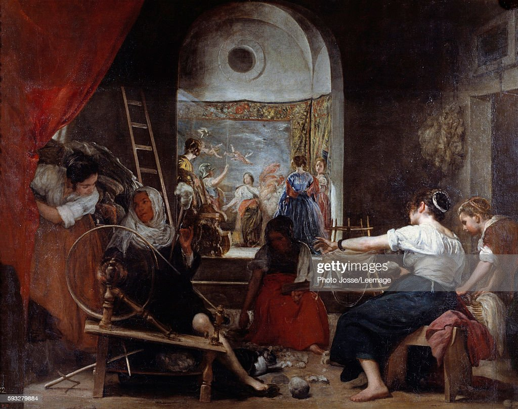 The Spinners Las Hilanderas or The fable of Arachne Painting by Diego Rodriguez de Silva y Velazquez c 1653 22 x 289 m Prado Museum Madrid Spain