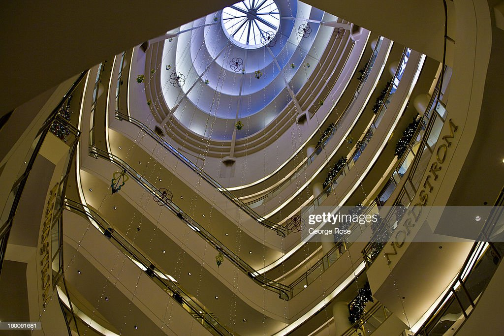 The spiraling escalators at the Nordstrom's store in the Westfield Shopping Center is viewed from below on December 22, 2012, in San Francisco, California. Despite cold and rainy weather, San Francisco is still a major attraction for tourists during the Christmas holidays.