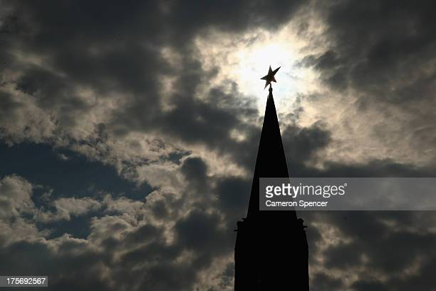 The spire of the Vodovzvodnaya Tower at the Kremlin is seen ahead of the IAAF World Championships on August 6 2013 in Moscow Russia