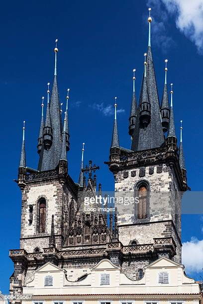 The Spires of the Church of Our Lady before Tyn in Old Town Square in Prague