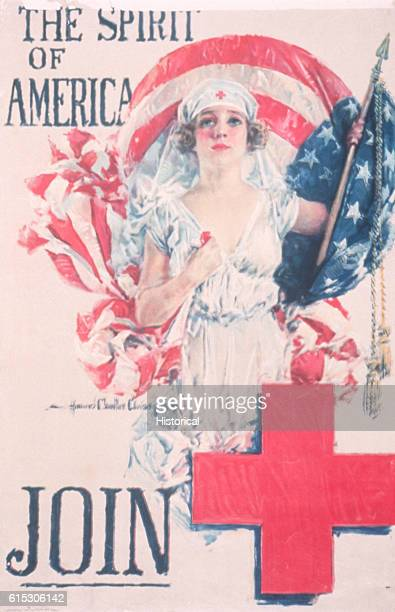 The Spirit of America Join Red Cross Recruitment Poster by Howard Chandler Christy