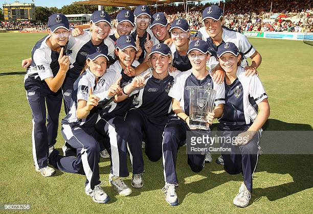 The Spirit pose after defeating the Breakers in women's Twenty20 Big Bash match between the Victorian Spirit and the NSW Breakers at Adelaide Oval on...