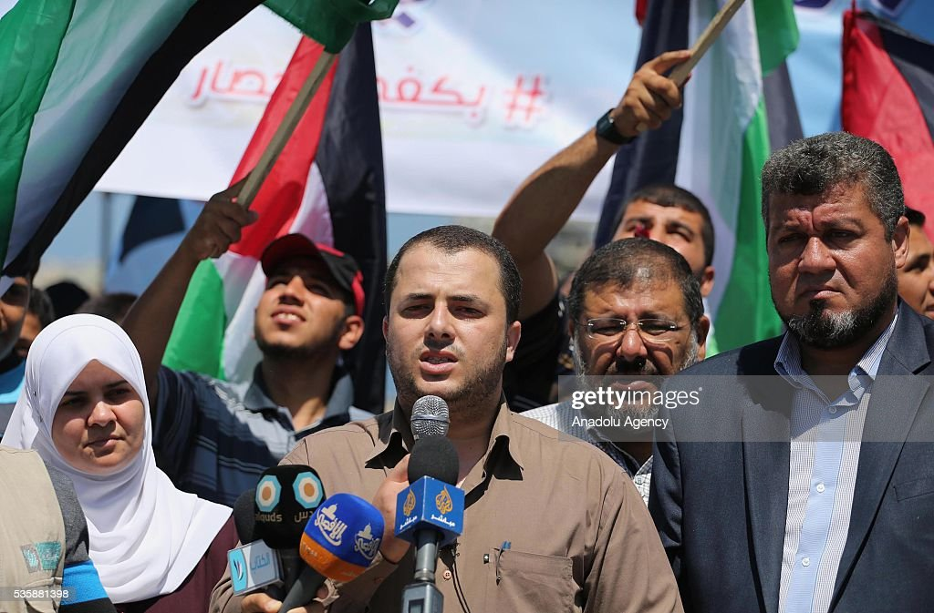 The spokesman of the Committee for Breaking the Siege and Reconstruction in Gaza Adham Abu Salmiya speaks to media during a protest, staged against Israeli Authorities' blockade on Gaza in Gaza City, Gaza on May 30, 2016.