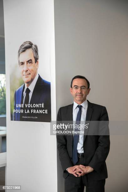 The spokespersons of candidates at the french Presidential election Bruno Retailleau spokeman of Francois Fillon in Paris on April 12 2017