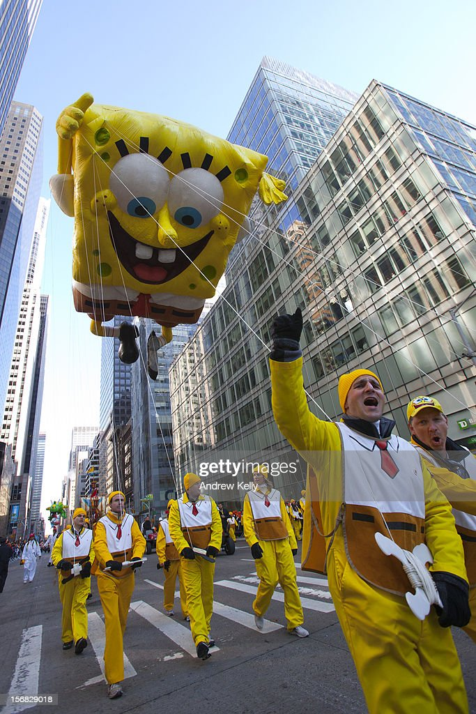 The Spongebob Squarepants balloon makes its way down Sixth Avenue during the 86th Annual Macy's Thanksgiving Day Parade on November 22, 2012 in New York City. Macy's donated tickets and transportation to this year's Thanksgiving Day Parade to 5,000 people from neighborhoods hardest hit by Superstorm Sandy.