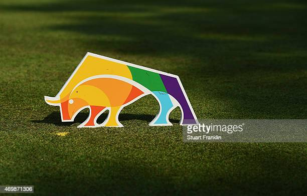The sponsor tee marker during the first round of the Shenzhen International at Genzon Golf Club on April 16 2015 in Shenzhen China