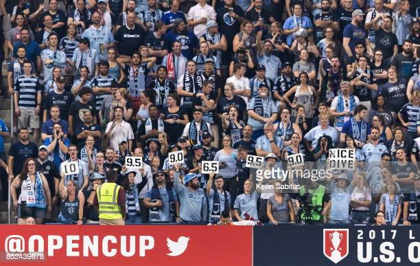 The Sporting Kansas City crowd reacts to a play in the US Open Cup Final match against the New York Red Bulls at Children's Mercy Park on September...
